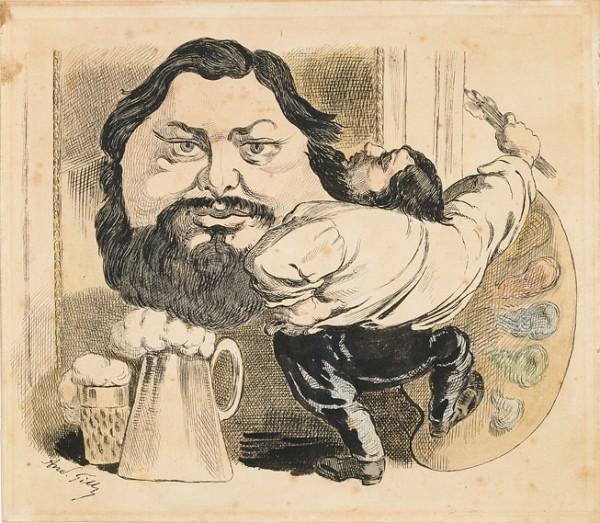 Courbet caricaturé... de la barbe aux sabots